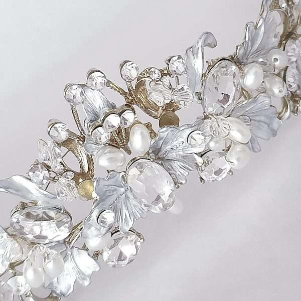 Alessandra Gold silver brushed leaf crown