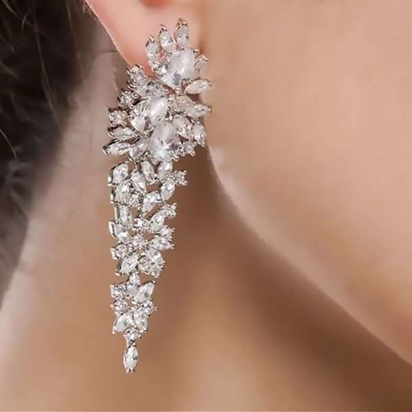 Long drop bridal cubic zirconia sterling silver earrings
