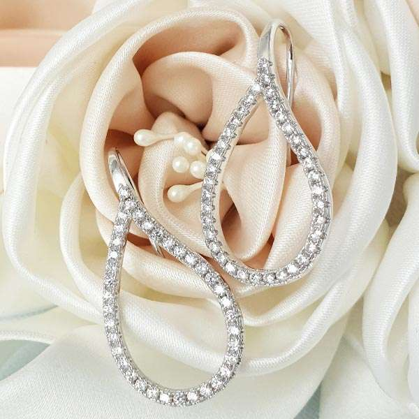 Crystal hoop french earrings