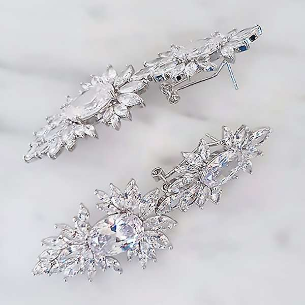 Bridal earrings, long drop cubic zirconia earrings
