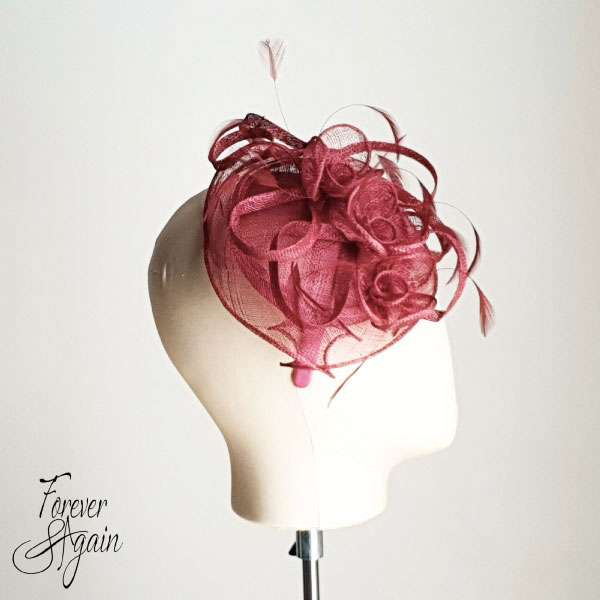 Wine coloured fascinator