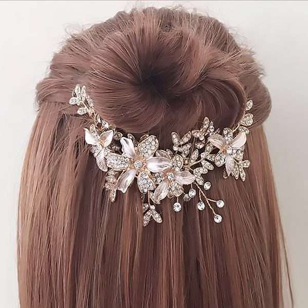 Brushed rose floral hairvine