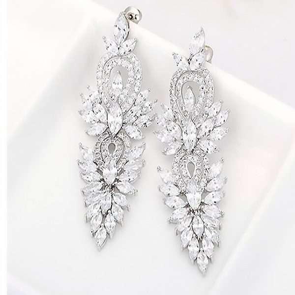 Bridal long drop earrings, bridesmaids cubic zirconia earrings