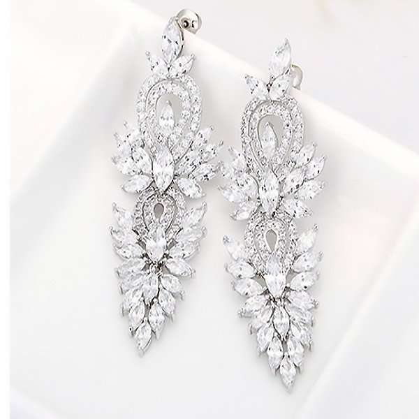 Bridal long drop earrings, bridesmaids cubic zirconia earrings
