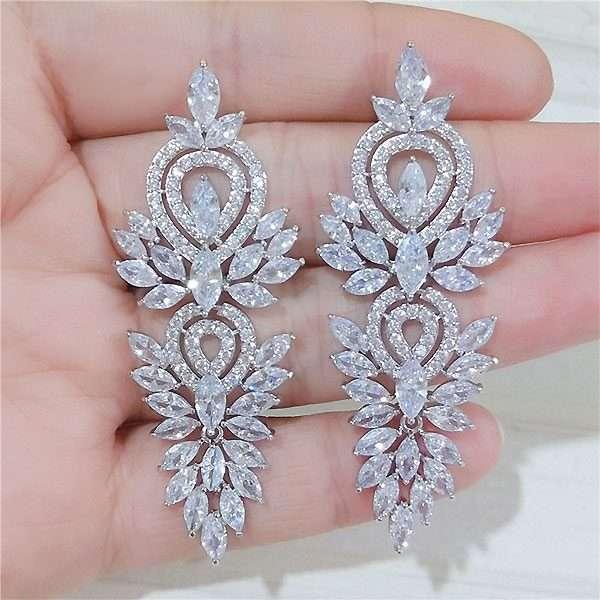 Long drop cubic Zircon earrings
