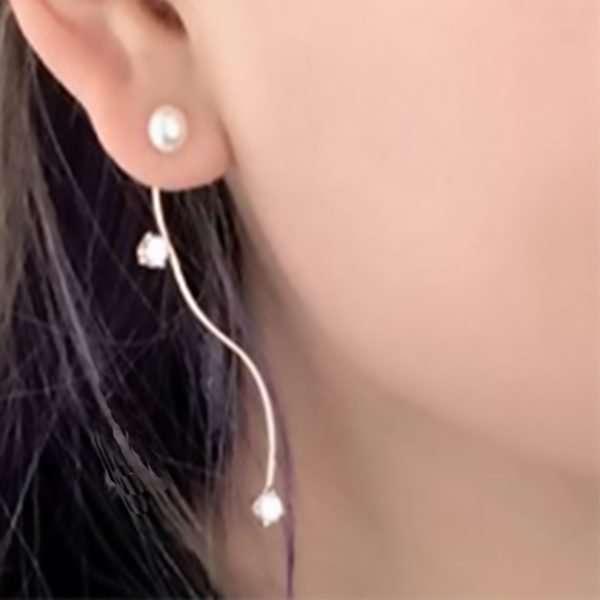 Long drop pearl and Swarovski crystal earrings