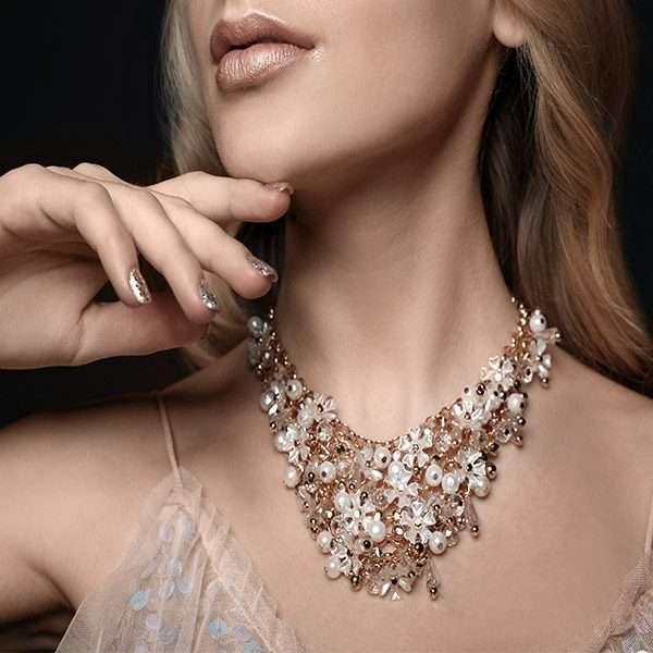 Bridal floral necklace