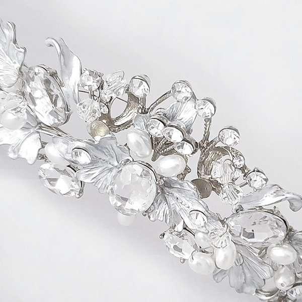 Brushed silver bridal crown