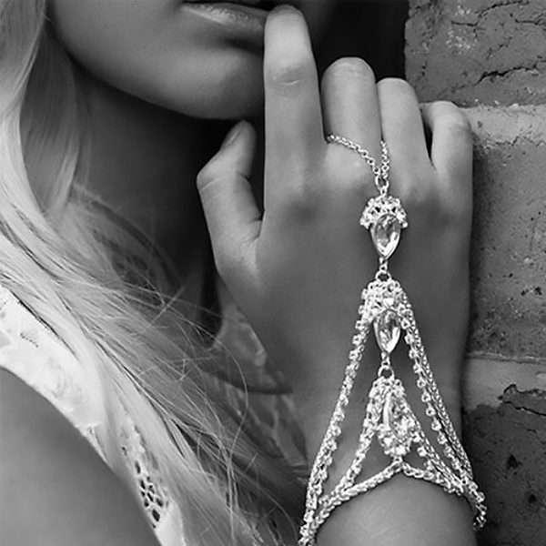 Bohemian artisan inspired hand bracelet