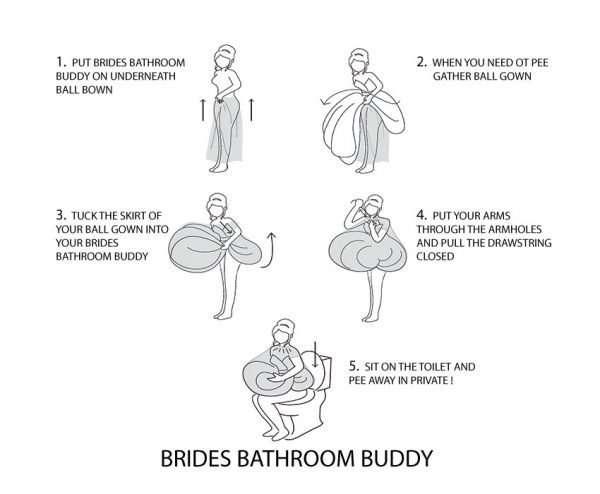 ballgown toilet helper, ridal bathroom buddy, ballgown underskirt