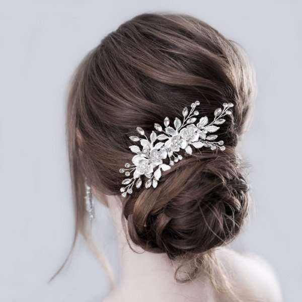Silver floral haircomb