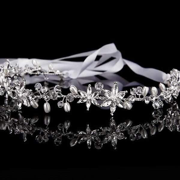bridal party hair vine, pearl hairvine, Swarovski hairvine