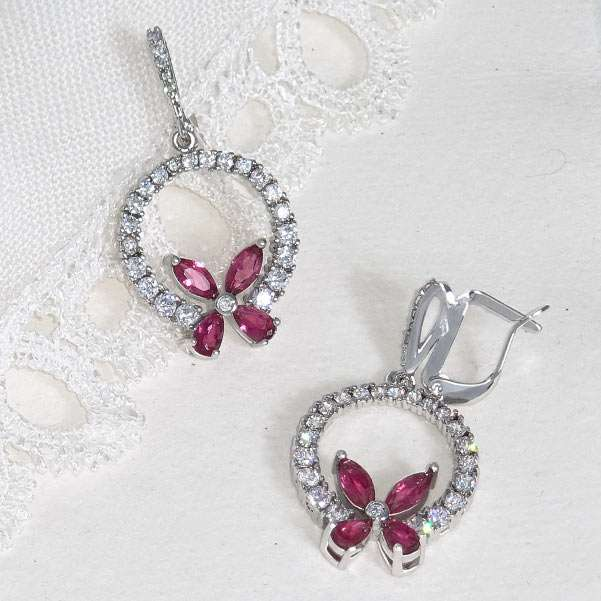 Rose butterfly earrings