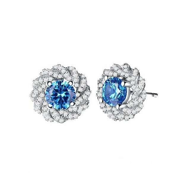 Blue solitaire earrings