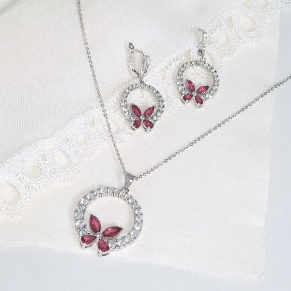 Vivid rose jewellery set