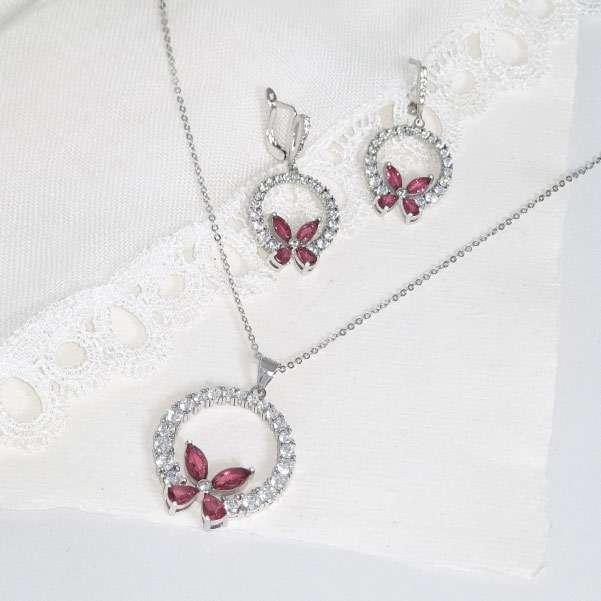 Vivid rose jewellery set