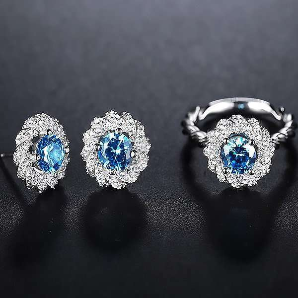 Aurora Blue earrings and ring setSet