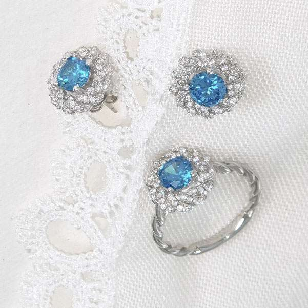 Ring and earrings blue