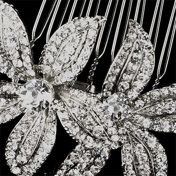 Crystal floral hair comb