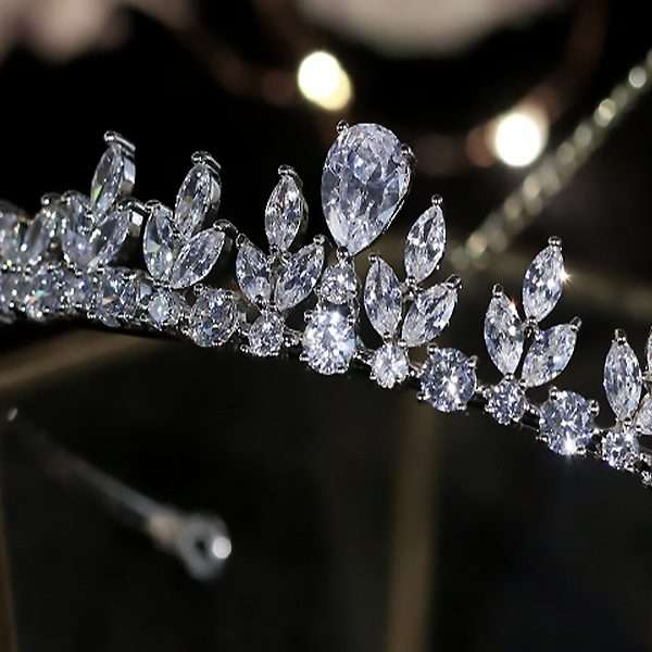 Cubic Zirconia bridal crown and bridal jewellery