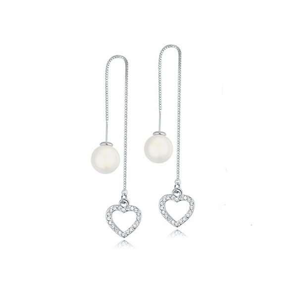 Long drop heart earrings
