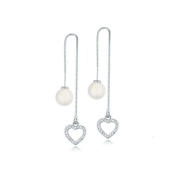 Long drop heart earrings