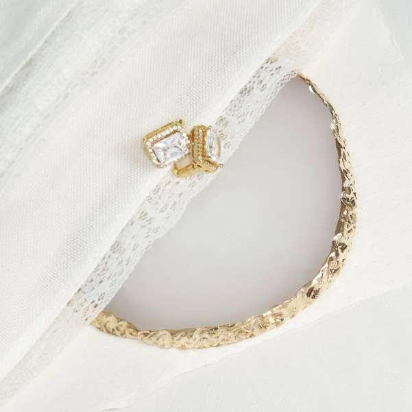 Gold princess cut earrings