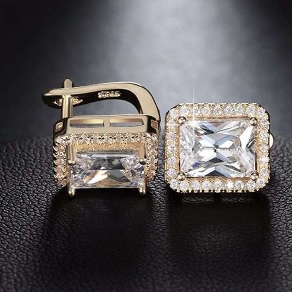 Emerald cut Cubic Zircon earrings