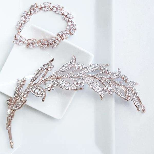 Rose gold headband and bracelet