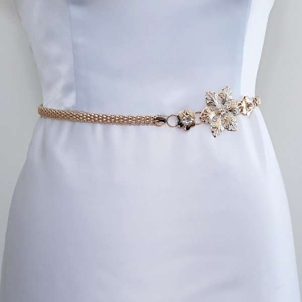 Gold wedding dress belt
