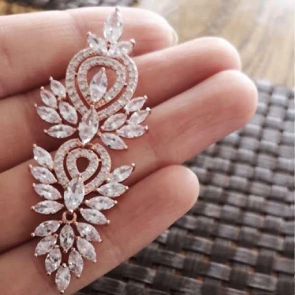 Rose long drop earrings