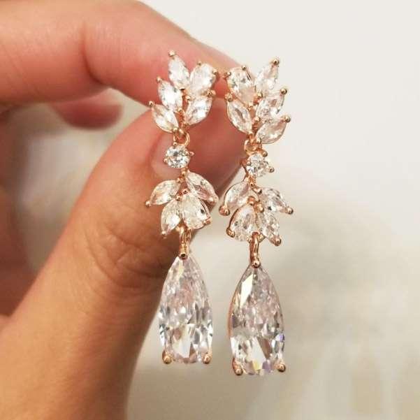 Long drop rose gold earrings