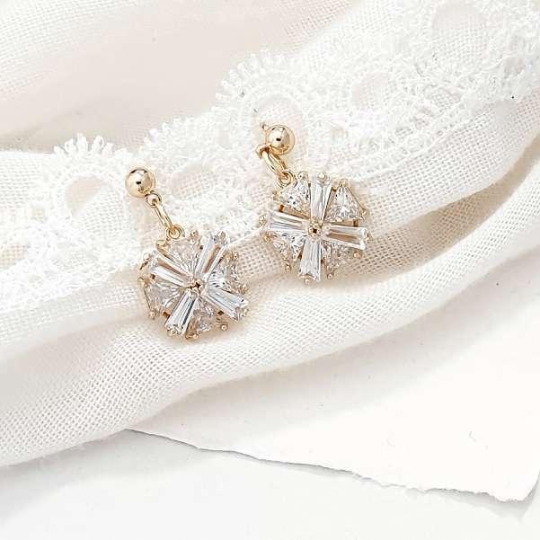 Gold bagette earrings