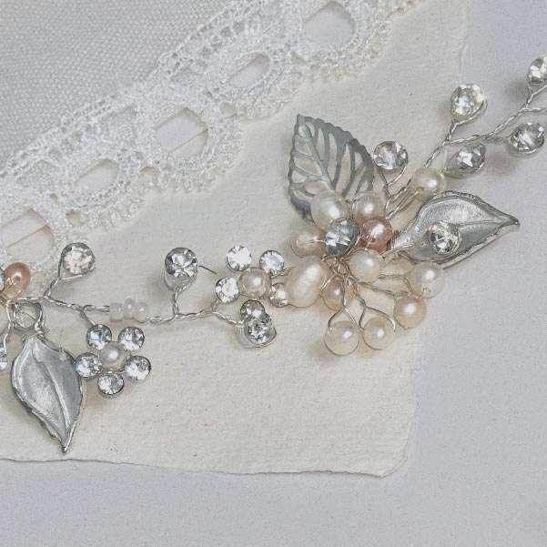 Silver pearl hair vine