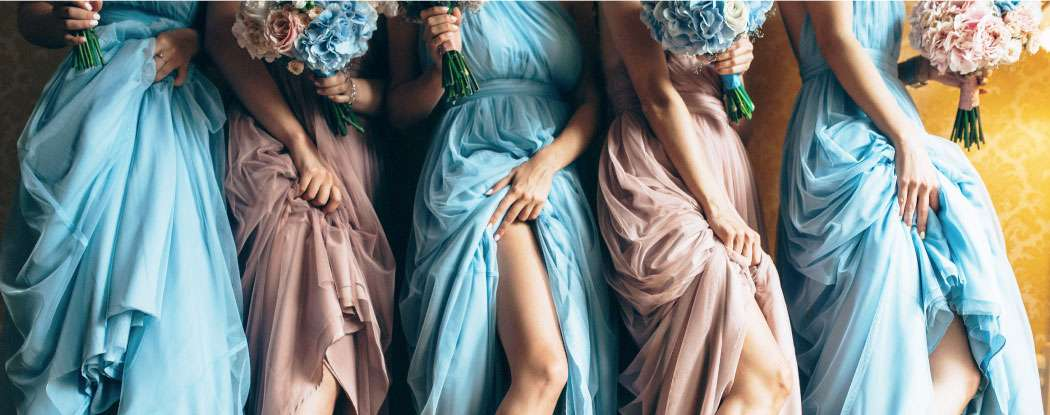 Blue and rose bridesmaids