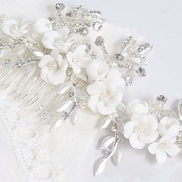 porcelain floral comb