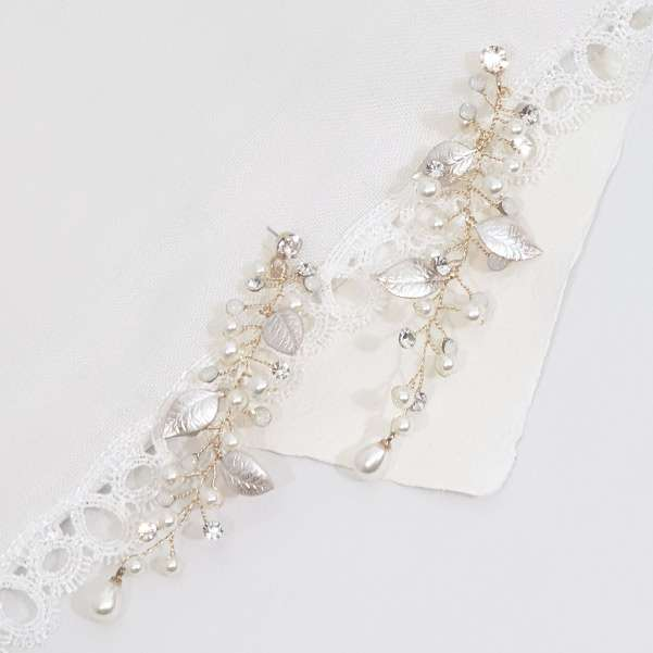 Long drop bridal earrings