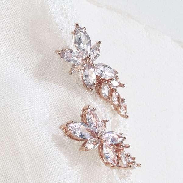 Bridal rose earrings