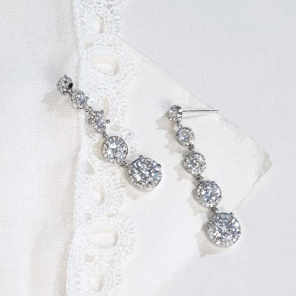 cubic zircon long drop earrings
