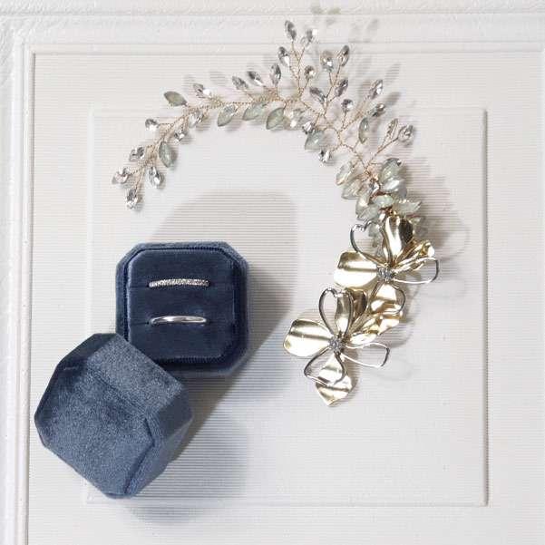Blue wedding ring box