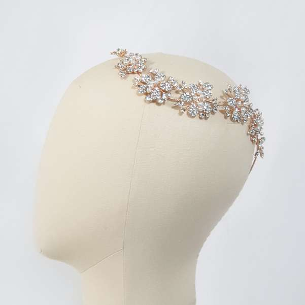 Rose gold with crystal hair accessories